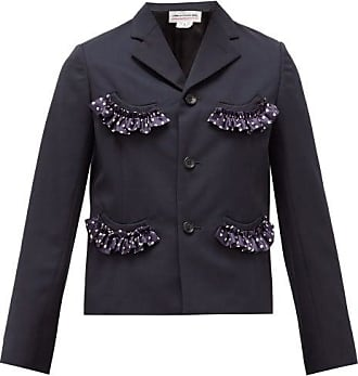 Comme Des Garçons Comme Des Garçons Girl - Single-breasted Ruffle-trim Crepe Jacket - Womens - Navy