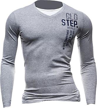 Jeansian Mens Dress Casual Slim Fit Long Sleeve T-Shirts Tee Shirts Tops D524 LightGray M