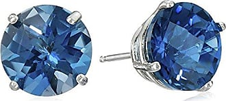 Amazon Collection 10k White Gold Round Checkerboard Cut London Blue Topaz Stud Earrings (8mm)