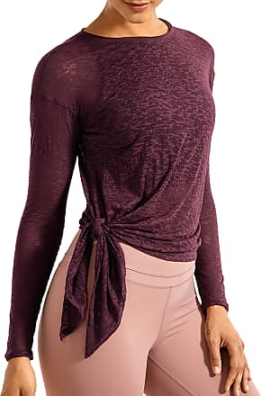 CRZ YOGA Womens Burnout Cottony-Soft Sports Shirt Drapey Fit Side Slit Long Sleeve Top Antique Burgundy 12