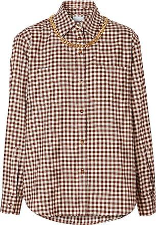 Burberry Camisa xadrez com detalhe de corrente - Marrom