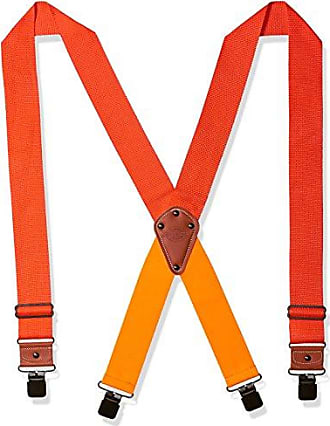 Dickies Industrial Strength Suspenders - Mens Wide Adjustable Thick Strap Clips for Work Heavy Duty Pants, neon orange, One sizee