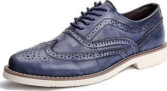 MGM-Joymod Mens Classic Comfortable Lace-up Oxford Casual Vintage Brogue Wingtip Shoes (Blue) 5.5 M UK