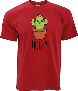 Tim And Ted Novelty T Shirt Cactus Wants Hugs Design - (Red/XXXXX-Large)