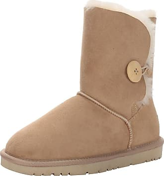 Jamron Women Classy Sheepskin Mid-Calf Snow Boots Warm Shearling Wool Lined Winter Boots with Button Beige SN021013 UK5.5