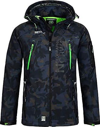 a817b365415b41 Geographical Norway Herren Softshell Outdoor Jacke Tambour/Taco/Techno  abnehmbare Kapuze Navy/Green
