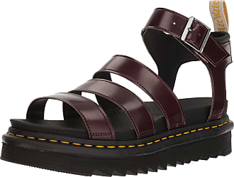 Dr. Martens Womens V Blaire Ankle Strap Sandals, Red (Cherry Red Cambridge Brush and Black Soft Pu 600), 6.5 UK (40 EU)