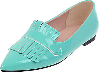 Mediffen Womens Pointed Toe Slip On Casual Tassels Flats Fashion Comfort Flat Shoes Blue Size 45 Asian