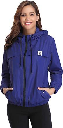 Abollria Raincoats Waterproof Lightweight Rain Jacket Active Outdoor Hooded Womens Trench Coats Blue