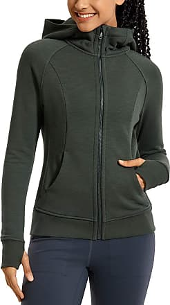CRZ YOGA Womens Cotton Hoodies Sport Workout Full Zip Hooded Jackets Sweatshirt Olive Green 14