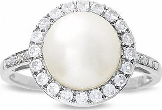 Zales Cultured Freshwater Pearl and Lab-Created White Sapphire Ring with Diamond Accents in 10K White Gold