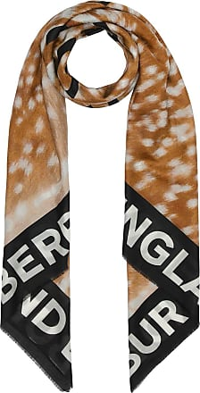 9d5b4b52bad6 Burberry Slogan Animal Print Cotton Silk Large Square Scarf - Brown