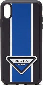 Prada Logo-stripe Iphone Xs Max Rubber Phone Case - Mens - Blue