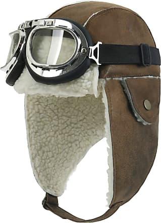 Ililily Aviator Hat Winter Snowboard Fur Ear Flaps Trooper Trapper Pilot Goggles, Light Brown/White