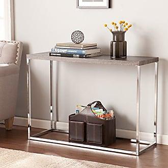 Southern Enterprises Glynn Sofa Console Table - Sun Bleached Gray Top w/ Chrome Metal Base - Coastal Style