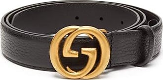 Gucci GG Grained-leather Black Belt - Mens - Black