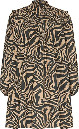 Ganni flared zebra-print dress - 185 TANNIN