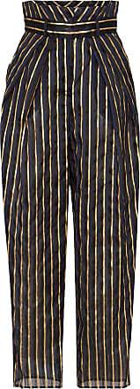 Alexandre Vauthier high waist striped linen blend trousers - Azul