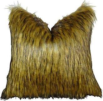 Plutus Brands Golden Wolf Throw Pillow 18 x 18 Light & Dark Brown