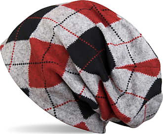 styleBREAKER Flecked Vintage Style Classic Checked Pattern fine Knit Slouch Beanie, Unisex 04024055, Colour:Black-Grey-Red