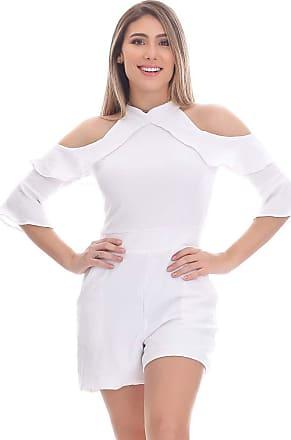 Clara Arruda Macaquinho Clara Arruda Manga Babado 80031 - P - Off White