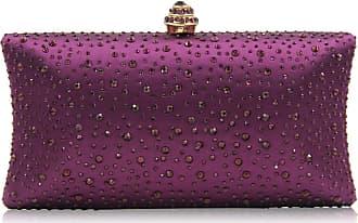 YYW Fashion Womens Glitter Clutch Bag Crystal Diamante Rhinestone Sparkly Evening Bridal Prom Party Handbag Purse (Dark purple)