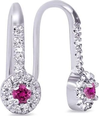 Pompeii3 30CT Pink Sapphire & Diamond Drop Earrings 10K White Gold