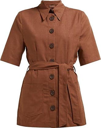 Albus Lumen Safari Belted Cotton Shirt - Womens - Brown