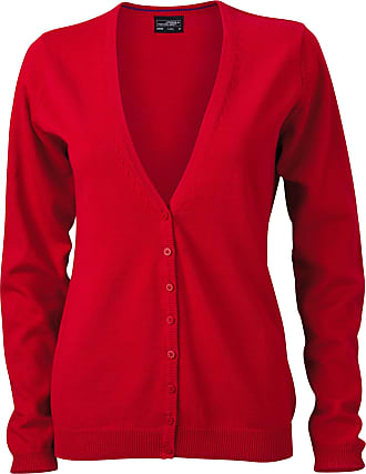James & Nicholson JN660 Ladies V Neck Cardigan red Size XL