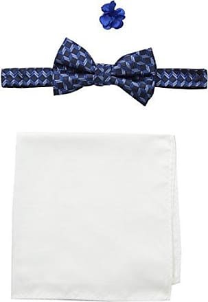 Nick Graham Everywhere Mens Shaded Bow Tie with Solid Pocket Square and Floral Lapel Pin, Blue), One Size