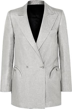 Blazé Milano Everyday Double-breasted Metallic Linen-blend Blazer - Silver