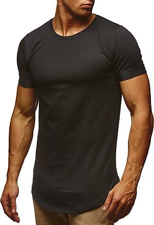 LEIF NELSON Mens T-Shirt Round Neck Collar LN-6368 Black Medium