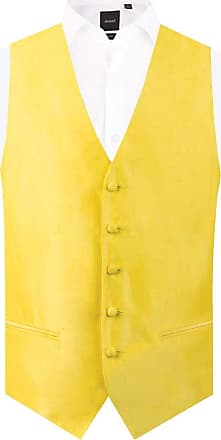 Dobell Mens Yellow Waistcoat Regular Fit Dupion 5 Button-4XL (58-60in)