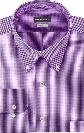 Van Heusen mens13V0225Regular Fit Gingham Button Down Collar Dress Shirt Button Down Collar Long Sleeve Dress Shirt - Purple - Large