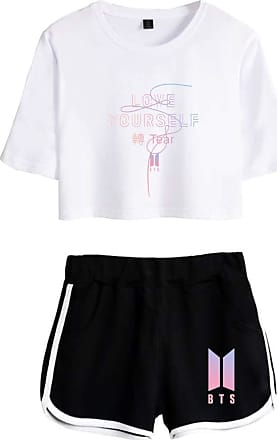 OLIPHEE Women BTS T-Shirt Set Tops and Shorts Casual Wear Love Your Self Idol Printed Tracksuits Bangtan Boys Fangirls Suga Jin Jimin Jung Kook J-Hope Rap Mon