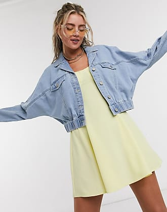 Noisy May denim jacket with shirred detail in blue