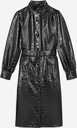 The Kooples Long black coat w/croc-print leather collar - WOMEN