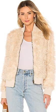 Chaser Faux Lamby Bomber Jacket in Cream
