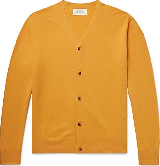 STUDIO NICHOLSON Santo Slim-fit Merino Wool And Cashmere-blend Cardigan - Mustard