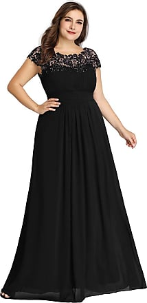 Ever-pretty Womens Elegant Empire Waist with Lace Cap Sleeves A line Long Chiffon Evening Dresses Black 20UK