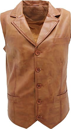 Infinity Mens Classic Smart Tan Leather Waistcoat 2XL