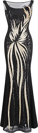 Angel Fashions Womens Splicing Evening Dress Sequined, Gold Black, S