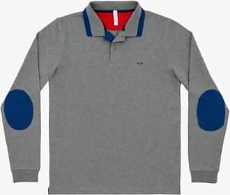 Sun 68 Graue große Streifen auf Kragen-Polo-T-Shirt - Med | cotton | gray