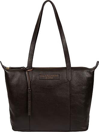 Pure Luxuries London Pure Luxuries London Oval Womens 33cm Biodegradable Leather Tote Bag with Zip Over Top, Unlined Central Compartment and Matchinng Leather Handles in D