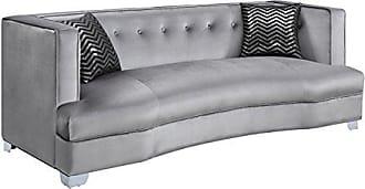 Coaster Fine Furniture Caldwell Velvet Sofa Silver and Chrome