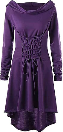 Hellomiko Womens Retro Hoodie Dress, Medieval Renaissance Hooded Robe Cloak, Cross Lacing Halloween Cosplay Fancy Dress Costume Purple