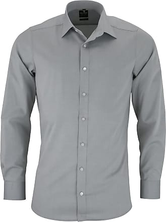 Olymp Olymp Mens Shirt Level 5 Body Fit Long Sleeve - Silver - 16