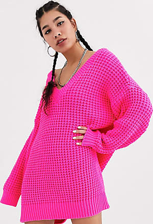 Collusion chunky cable knit v neck jumper dress in pink