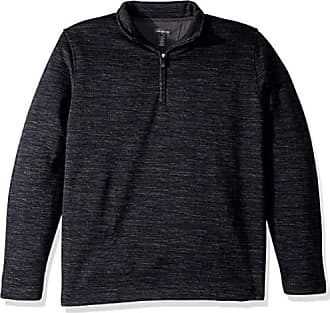 Van Heusen Mens Never Tuck Long Sleeve Space Dye 1/4 Sweater Fleece Pullover, Blue Barge, Large