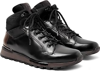 Berluti Fast Track Shearling-lined Leather And Jacquard-shell Hiking Boots - Black